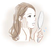 肌トラブルを気にするイメージ